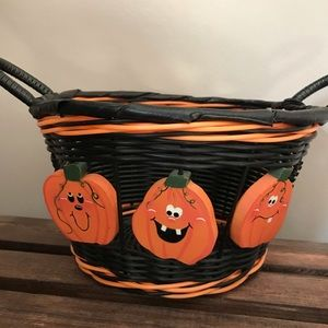Halloween Fall Wood Pumpkin decorative Basket